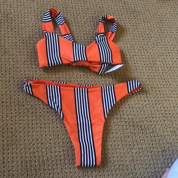 Zaful Other - orange w/ black stripes zaful bikini